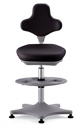 BIMOS - 9101-2000 - Lab chair Labster 3 glider and foot ring, integral foam black, WL40394