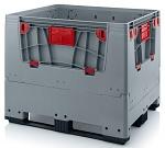 KLK 1210K - Foldable ESD bigbox with 4 access flaps, 3 longitudinal skids, grey, 1200 x 1000x 1000 mm, WL45536
