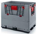 KLK 1208K - Foldable ESD bigbox with 4 access flaps, 3 longitudinal skids, grey, 1200 x 800x 1000 mm, WL45535