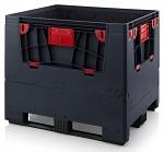 ESD KLK 1210K - Foldable ESD bigbox with 4 access flaps, 3 longitudinal skids, , black, 1200x1000x1000 mm, WL45856