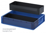 ESD EK 2/150 - ESD insert box, 2-part division lengthwise, for ESD Euro container 60 x 40 cm, 563 x 183 x 150 mm, WL36662