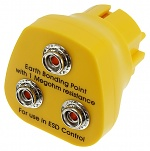 SAFEGUARD - SafeGuard ESD - ESD earthing plug, 3 x 10 mm push button, yellow, WL24062