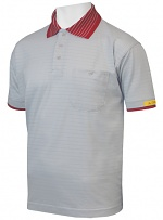 HB SCHUTZBEKLEIDUNG - 08011 86004 000 2061 - ESD polo shirt CONDUCTEX men, grey/red breast pocket, XS, WL33501