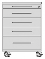 KARL - 380.100.01 - ESD roll container, wooden body, 5 drawers, grey, 435x800x602mm, WL37069
