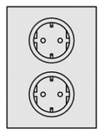 KARL - 95.410.70 - Steckdosen, Einsatzplatte für Elektroanschlussleiste Basic, 400 mm, WL34969