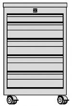 KARL - 32.315.34 - ESD Schubkastenblock FO Sintro fahrbar, 1x1HE/4x2HE, Deckel ESD-Schichtstoff, 670x540x418mm, WL35597
