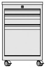 KARL - 32.320.66 - ESD Schubkastenblock FO Sintro fahrbar, 1x1HE/1x2HE/1x6HE, Deckel ESD-Hartlaminat, 670x540x418mm, WL31355