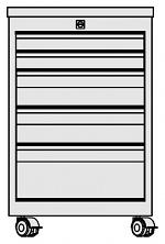 KARL - 33.310.34 - ESD Schubkastenblock FO Sintro fahrbar, 2x1HE/2x2HE/1x3HE, Deckel ESD-Schichtstoff, 670x540x606mm, WL41337