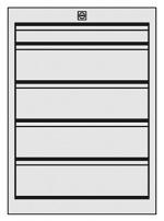 KARL - 27.215.70 - ESD Schubkastenblock FO Sintro, 1x1HE, 4x2HE, 583 x 540 x 418 mm, WL34685