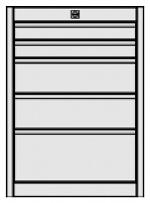 KARL - 12.210.03 - ESD Drawer block FO Quadro, blue, 2x1HE/2x2HE/1x3HE, 583 x 540 x 418 mm, WL31370