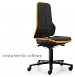 BIMOS - 9573-9588SP01-3279 - Neon 2 work chair with castors, Flexband orange Synchrontechnik, Supertec upholstery black, WL36797