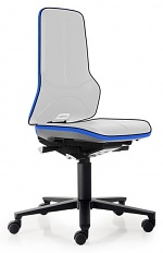 BIMOS - 9563-9999-3277 - Neon 2 work chair with castors Flexband blue, permanent contact, WL40148