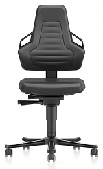 BIMOS - 9033E-MG01-3218 - ESD chair NEXXIT 2 with castors, imitation leather black with handles, WL43868