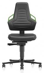 BIMOS - 9033-MG01-3280 - Laboratory chair NEXXIT 2 with castors, imitation leather, green handles, WL43902