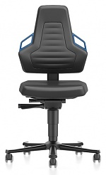 BIMOS - 9033-MG01-3277 - Laboratory chair NEXXIT 2 with castors, imitation leather, blue handles, WL43899