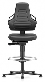 BIMOS - 9031E-MG01-3218 - ESD chair NEXXIT 3, with glider and foot ring, imitation leather black, with handles, WL43871