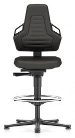 BIMOS - 9031E-CP01-3218 - ESD chair NEXXIT 3, with glider and foot ring, Supertec black, with handles, WL43863