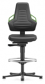 BIMOS - 9031-MG01-3280 - Laboratory chair NEXXIT 3, with glider and foot ring, imitation leather, green handles, WL43912
