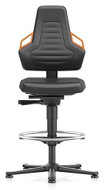 BIMOS - 9031-MG01-3279 - Laboratory chair NEXXIT 3, with glider and foot ring, imitation leather, orange handles, WL43911