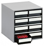 TRESTON - 0840 ESD - ESD-Schubladenmagazin, 8 Schubladen, 400x400x395 mm, schwarz, WL36944