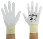 SAFEGUARD - SG-white-JNW-302-XL - ESD Handschuh weiß/gelb, beschichtete Handflächen, Nylon/Carbon, XL, WL40766