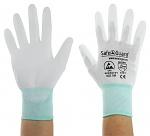 SAFEGUARD - SG-white-JNW-302-M - ESD Handschuh weiß/türkis, beschichtete Handflächen, Nylon/Carbon, M, WL40764