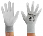 SAFEGUARD - SG-grey-JCA-302-S - ESD glove grey/white, coated palms, nylon/carbon, S, WL39621