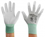 SAFEGUARD - SG-grey-JCA-302-M - ESD glove grey/turquoise, coated palms, nylon/carbon, M, WL39622