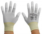 SAFEGUARD - SG-grey-JCA-202-XL - ESD Handschuh grau/gelb, beschichtete Fingerkuppen, Nylon/Carbon, XL, WL36565