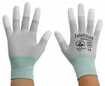 SAFEGUARD - SG-grey-JCA-202-M - ESD glove grey/turquoise, coated fingertips, nylon/carbon, M, WL36563