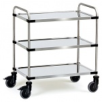 FETRA - 5005 - Stainless steel trolley, 3 shelves, 150 kg, 800 x 500 mm, tube push handle, WL39834