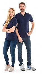 SAFEGUARD - SafeGuard ESD - ESD-Shirt V-neck navy blue/black, 150g/m², XS, WL44409