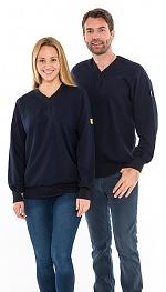SAFEGUARD - SafeGuard ESD - ESD sweatshirt V-neck navy blue, 280g/m², XS, WL43781