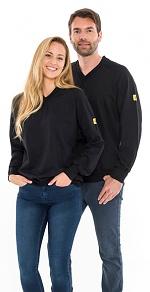 SAFEGUARD - SafeGuard ESD - ESD sweatshirt V-neck black, 280g/m², XS, WL43790