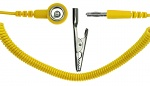 SAFEGUARD - SAFEGUARD ESD - ESD spiral cable, 1 Mohm, yellow, 2,4 m, 10 mm push button, banana plug, crocodile clip, WL42103