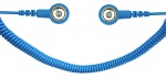 SAFEGUARD - SAFEGUARD ESD - ESD spiral cable, 1 Mohm, light blue, 1,8 m, 10/10 mm push button, WL42061