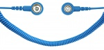 SAFEGUARD - SAFEGUARD ESD PRO - ESD spiral cable, 2 MOhm, light blue, 2.4 m, 7/10 mm push button, WL27735