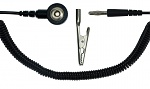 SAFEGUARD - SAFEGUARD ESD - ESD spiral cable,1 Mohm, black, 1,8 m, 3 mm snap fastener, banana plug, crocodile clip, WL24925