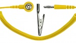SAFEGUARD - SAFEGUARD ESD - ESD spiral cable, 1 Mohm, yellow, 2.4 m, banana plug, crocodile clip, 3 mm push button, WL42070