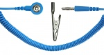 SAFEGUARD - SAFEGUARD ESD - ESD spiral cable, 1 MOhm, light blue, 2,4 m, 3 mm push button, banana plug, crocodile clip, WL19532