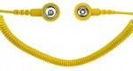 SAFEGUARD - SAFEGUARD ESD PRO - ESD spiral cable, 2 MOhm, yellow, 2,4 m, 3/10 mm push button, WL42084