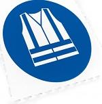 ECOTILE - 13.240 - Floor marking tile with logo warning vest, blue, 500x500 mm, WL41971