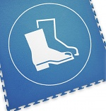ECOTILE - 13.237 - Floor marking tile with logo safety shoes, blue, 500x500 mm, WL41968