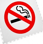 ECOTILE - 13.236 - Floor marking tile with logo smoking prohibited, white, 500x500 mm, WL41967