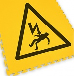 ECOTILE - 13.235 - Floor marking tile, with logo Electrical danger, black/yellow, 500x500 mm, WL41966
