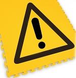 ECOTILE - 13.233 - Floor marking tile with logo danger, black/yellow, 500x500 mm, WL41936