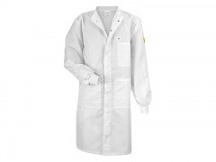 HB SCHUTZBEKLEIDUNG - 06002 46003 000 10 - ESD work coat CLEANTEX, with knitted cuffs, long sleeves, men, white, L, WL28953