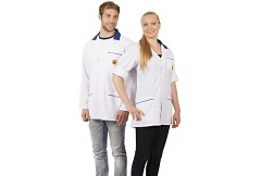 WARMBIER - 2660.KL160.W.M - ESD Work coat, unisex, white/blue, short, M, WL32044