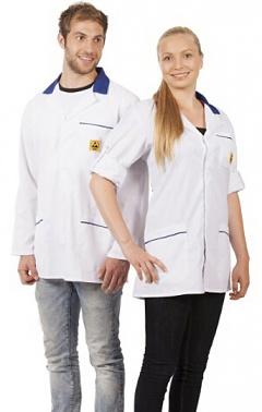 WARMBIER - 2660.KL160.W.M - ESD Work coat, unisex, white/blue, short, M, WL32044