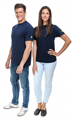 SAFEGUARD - SafeGuard PRO - ESD T-Shirt round neck navy blue, 150g/m², M, WL37160